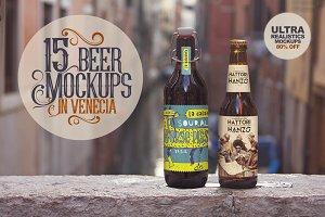 15 Beer Mockups in Venecia