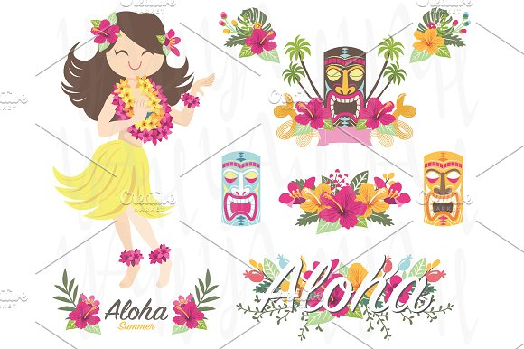 Aloha Flower Hawaiian Girl Tiki God