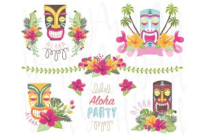 Summer Flower Tiki Elements
