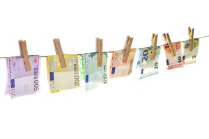 Euro banknotes hanging Money