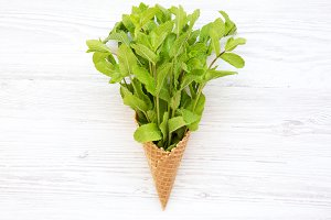 Top view, ice cream cone with mint