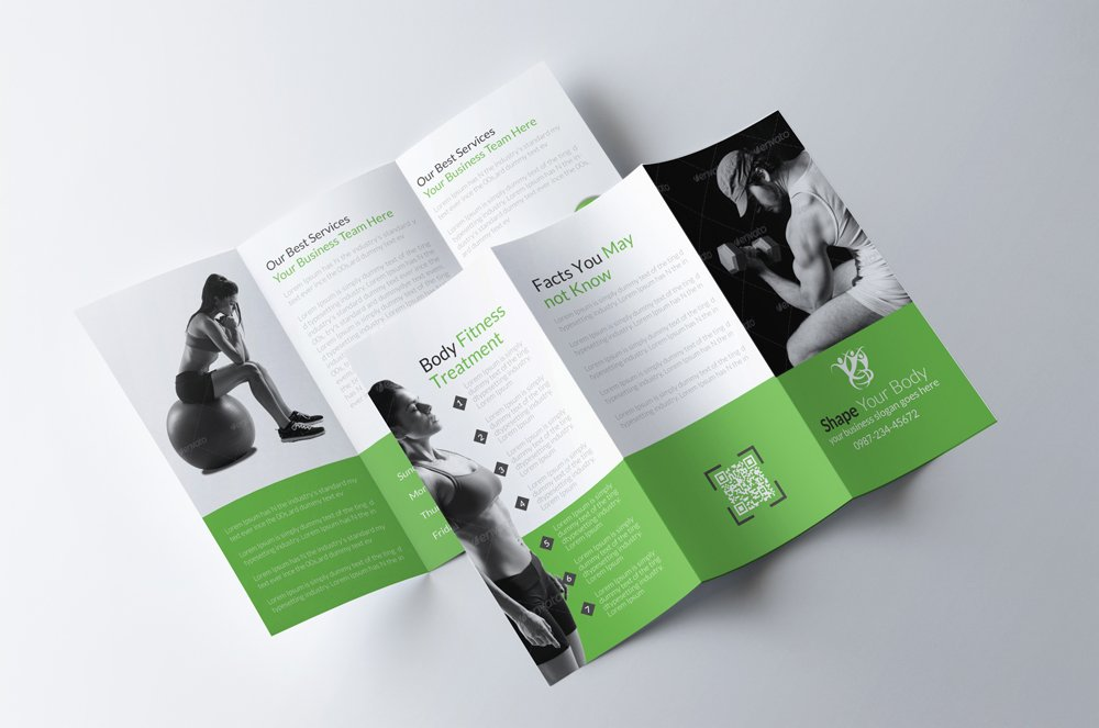 gym brochure template - body fitness trifold brochure brochure templates