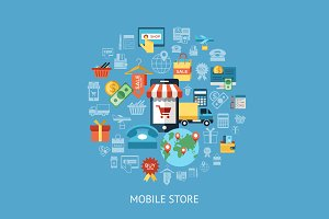 Bundle of 10 mobile shop infographic