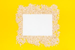 Top view of oatmeal flakes in