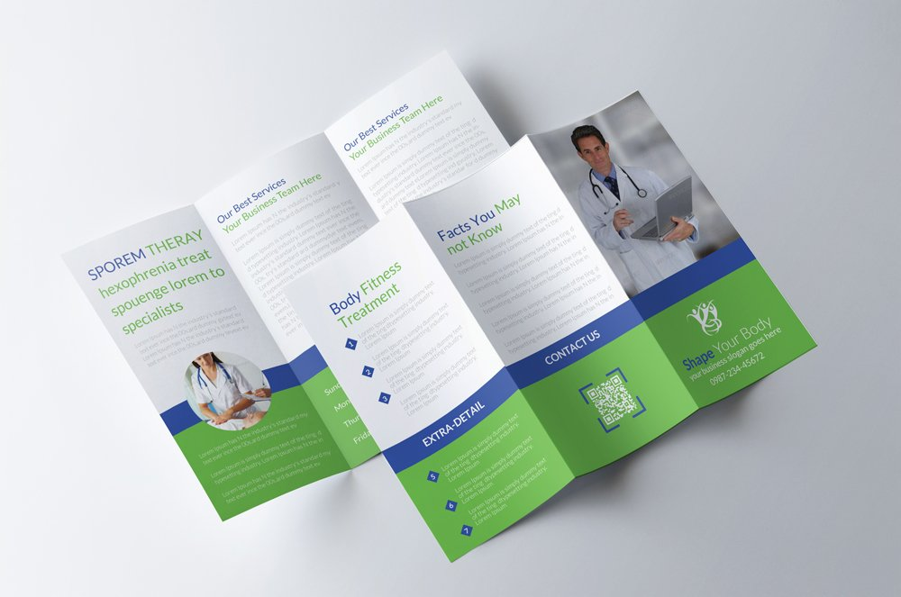 Medical Center Brochure Template | MyCreativeShop |Medical Tri Fold Brochure Template