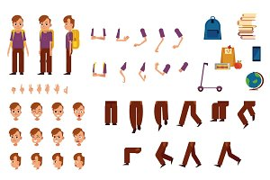 Student boy with backpack creation kit with various body parts, face emotions and hand gestures.