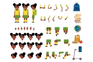 Vector flat african student kid creation set