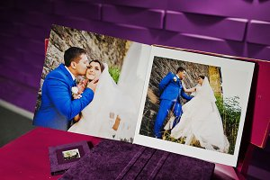 Violet wedding album and photobook