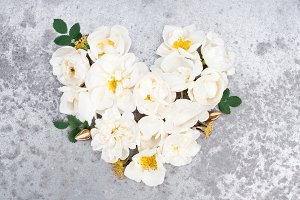 Heart of white vintage roses