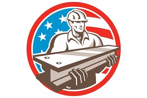 Construction Steel Worker I-Beam USA