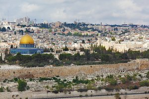 Jerusalem on hills and th cloudy sky