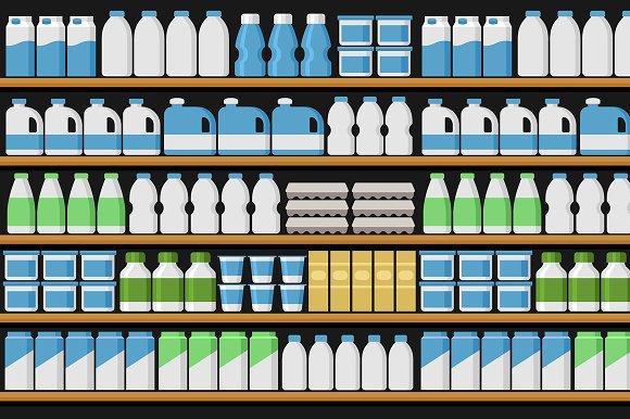 Shelfs Shelves With Products Set