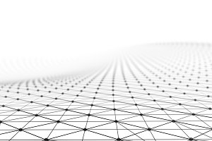 Black network connection lines on white background for technology concept, 3d abstract illustration