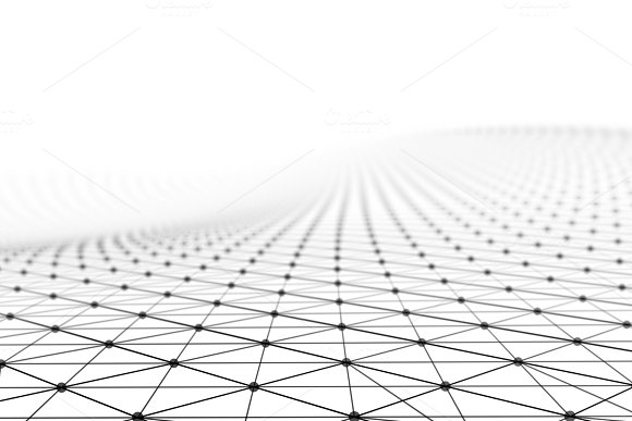 Black Network Connection Lines On White Background For Technology Concept 3D Abstract Illustration