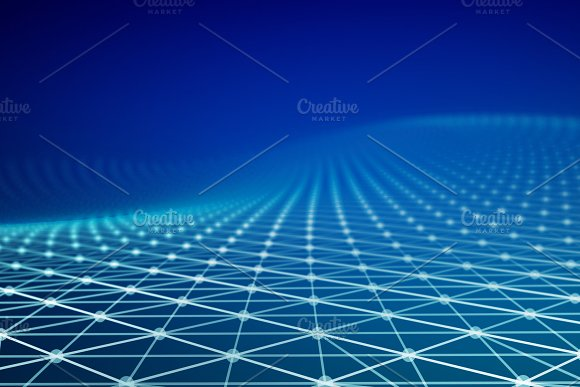 Blue Network Connection Triangle Lines On Blue Background For Technology Concept 3D Abstract Illustration