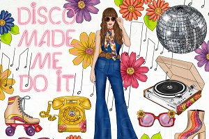 Retro Disco Fashion Girl Clip Art
