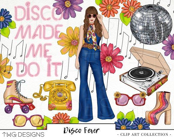 Retro Disco Fashion Girl Clip Art