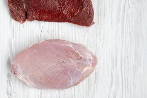 Uncooked raw beef meat, turkey breas