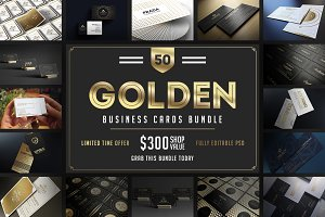 50 Golden Business Cards Bundle