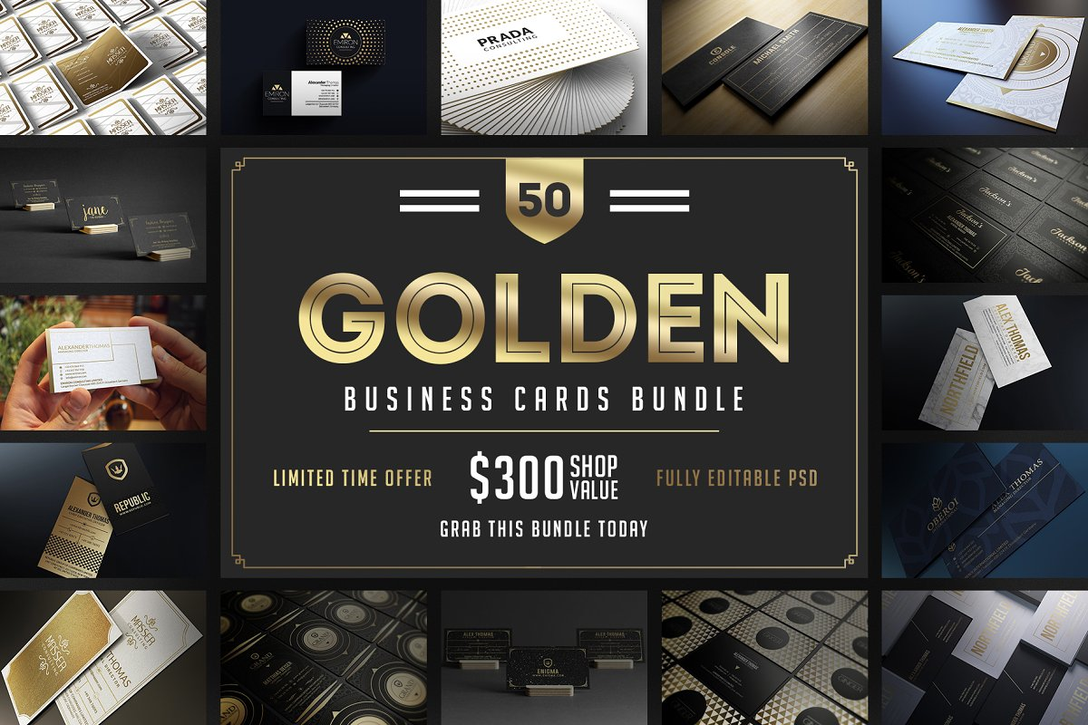 50 Golden Business Cards Bundle in Business Card Templates - product preview 50