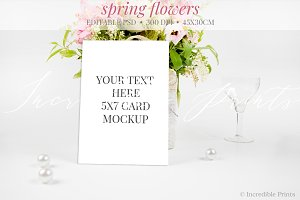 Spring Flowers Invitation Mockup