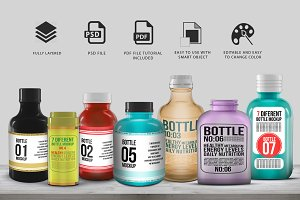 7 Different Bottle Mock-up