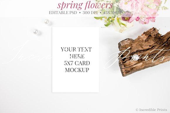 Spring Flowers Invitation Mockup