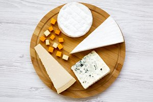 Cheese platter on a white wooden