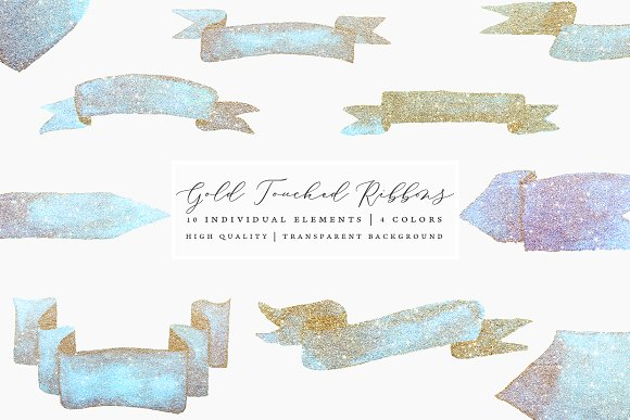 Gold Touched Ribbons Blue Pink