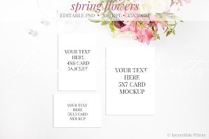 Spring Flowers Wedding Set Mockup