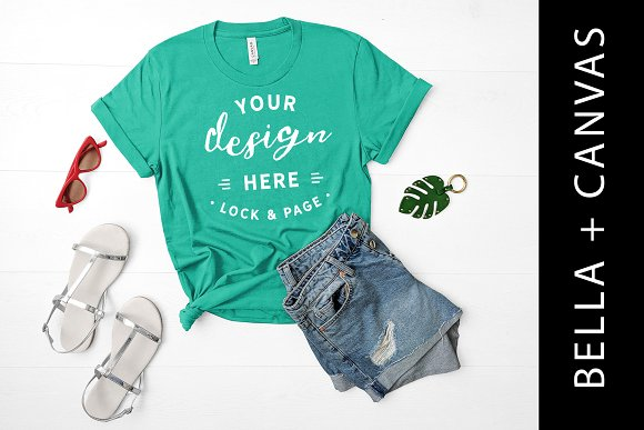 TShirt Mockup Bella Canvas Green