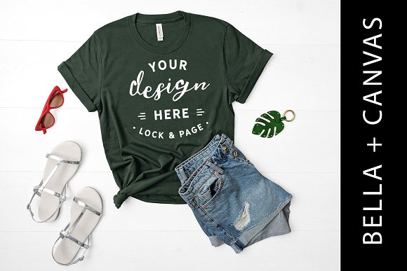 Bella Canvas Green TShirt Mockup