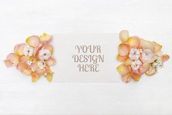 Paper Mockup Rose Petals Flatlay