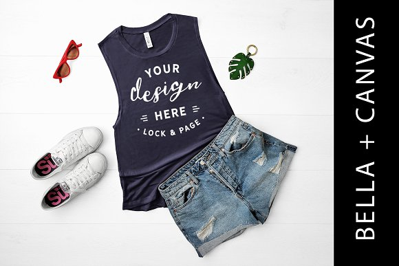 Bella Canvas Navy Tank Top Mockup