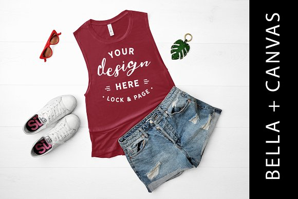 Bella Canvas Maroon Tank Top Mockup