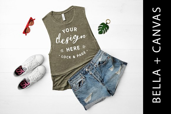 Bella Canvas Olive Tank Top Mockup