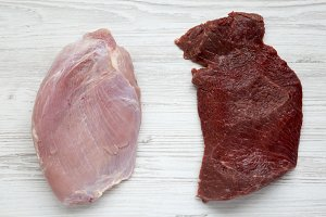 Uncooked raw beef meat and turkey