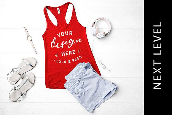 Next Level 1533 Red Tank Top Mockup