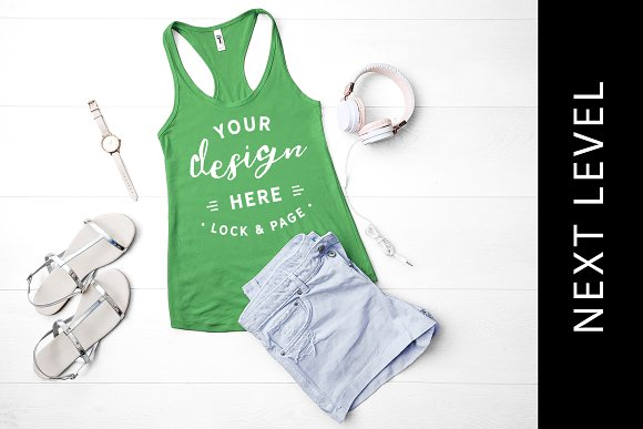 Next Level Green Tank Top Mockup