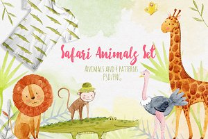 Watercolor Safari Animal Set
