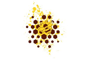 Bee, honeycombs and yellow splash
