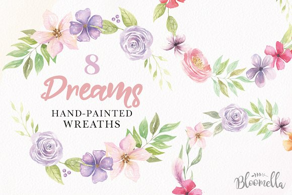 Dreams Watercolor Floral Wreath Set