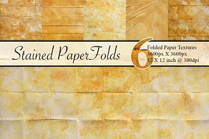 6 Stained & Folded Paper Textures