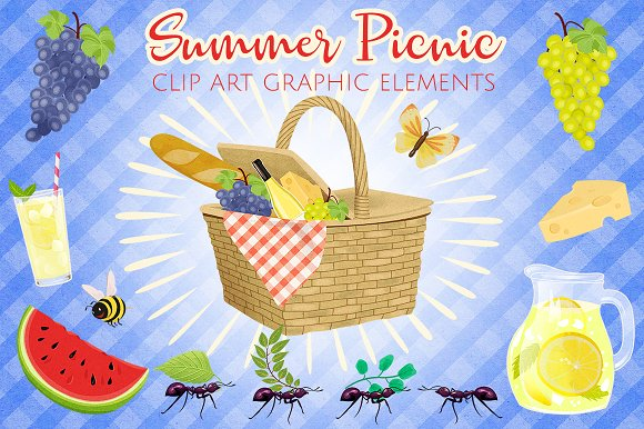 Summer Picnic Clip Art Set