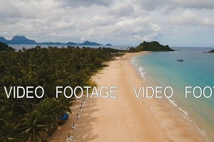 Aerial view beautiful beach on a tropical island. Philippines, El Nido.