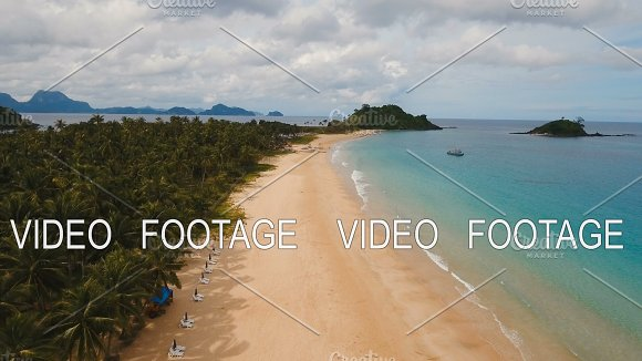 Aerial View Beautiful Beach On A Tropical Island Philippines El Nido