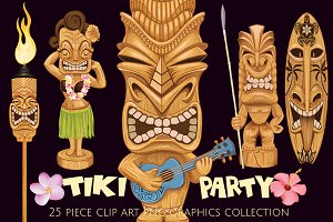Tiki Totem Illustrations Elements