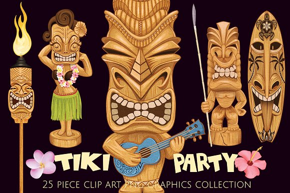 Tiki Totem Illustrations Elements