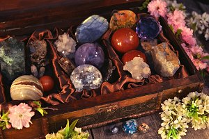 Box with gemstones