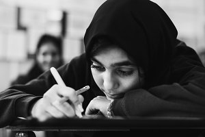 Muslim student study in a classroom